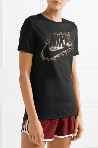 Nike T-Shirt aus Stretch-Jersey mit Metallic-Print