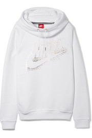 Nike Rally printed cotton-blend fleece hooded top
