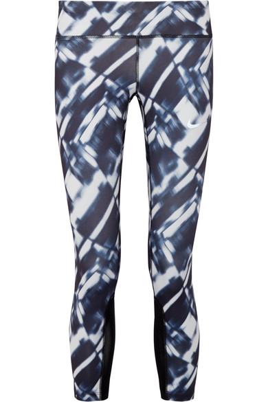discount footwear 100% quality Power Epic Run mesh-trimmed printed Dri-FIT stretch leggings