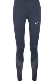 Nike Power Flash printed mesh-paneled Dri-FIT stretch leggings