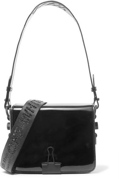 Off-White - Embellished Patent-leather Shoulder Bag - Black