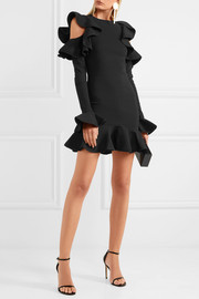 Legion ruffled stretch-knit mini dress