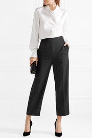 3.1 Phillip Lim Grosgrain-trimmed wool-crepe tapered pants
