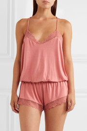 Eberjey Catalina lace-trimmed stretch-modal jersey playsuit