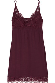 Lila lace-trimmed stretch-modal chemise