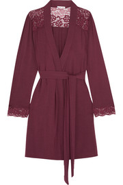 Eberjey Lila lace-trimmed stretch-modal robe