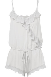 Talia lace-trimmed stretch-modal jersey playsuit