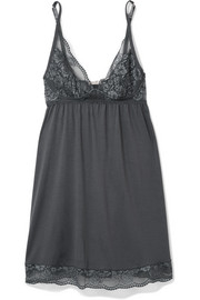 Noor lace-trimmed stretch-modal jersey chemise