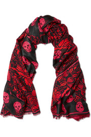 Printed silk and wool-blend scarf