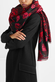 Alexander McQueen Printed silk and wool-blend scarf