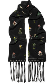 Faux leather-trimmed floral-print silk crepe de chine scarf