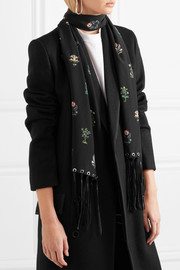 Alexander McQueen Faux leather-trimmed floral-print silk crepe de chine scarf