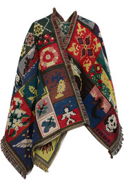 Alexander McQueen Patchwork wool and silk-blend jacquard cape