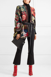 Patchwork wool and silk-blend jacquard cape