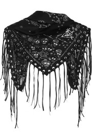 Alexander McQueen Leather-trimmed printed silk-twill scarf