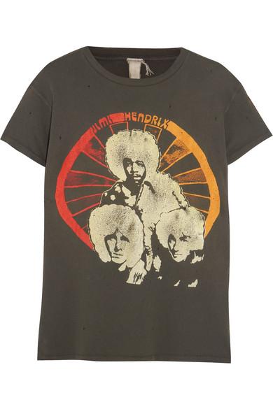40182a489be MadeWorn | Jimi Hendrix distressed printed cotton-jersey T-shirt ...