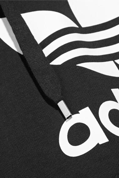 adidas Originals Bedrucktes Kapuzenoberteil aus Frottee aus einer Baumwollmischung