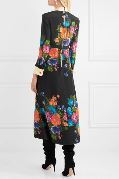 Gucci Midikleid aus Crêpe de Chine aus Seide mit Blumenprint und Ripsbandbesatz Wirklich Billig Preis Verkauf Online-Shopping Freies Verschiffen Ebay Besuchen Zu Verkaufen TQVURvU