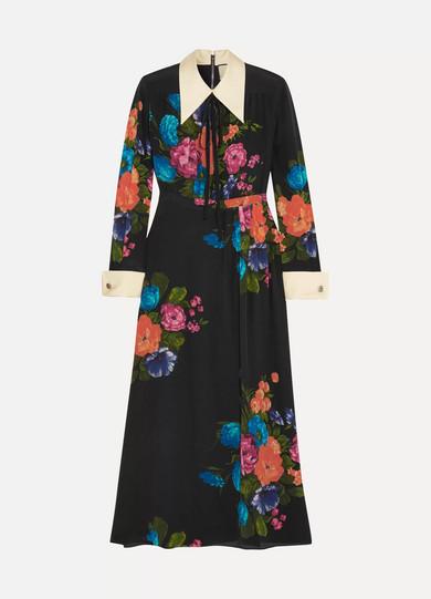 Wirklich Billig Preis Gucci Midikleid aus Crêpe de Chine aus Seide mit Blumenprint und Ripsbandbesatz Mit Paypal Online idNxXx9