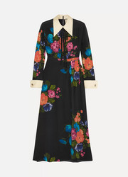 Gucci Grosgrain-trimmed floral-print silk crepe de chine midi dress