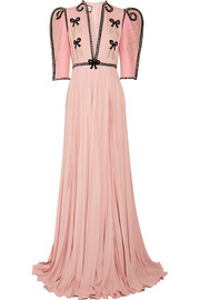 Gucci Swarovski crystal-embellished wool and silk-blend and plissé-chiffon gown
