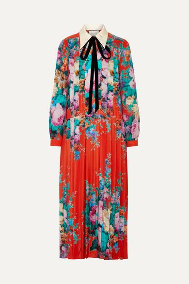 Velvet-Trimmed Pleated Printed Silk Crepe De Chine Midi Dress, Bright Orange