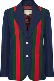 Striped wool and silk-blend crepe blazer