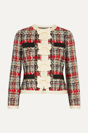 Gucci Silk-twill and grosgrain-trimmed metallic tweed jacket