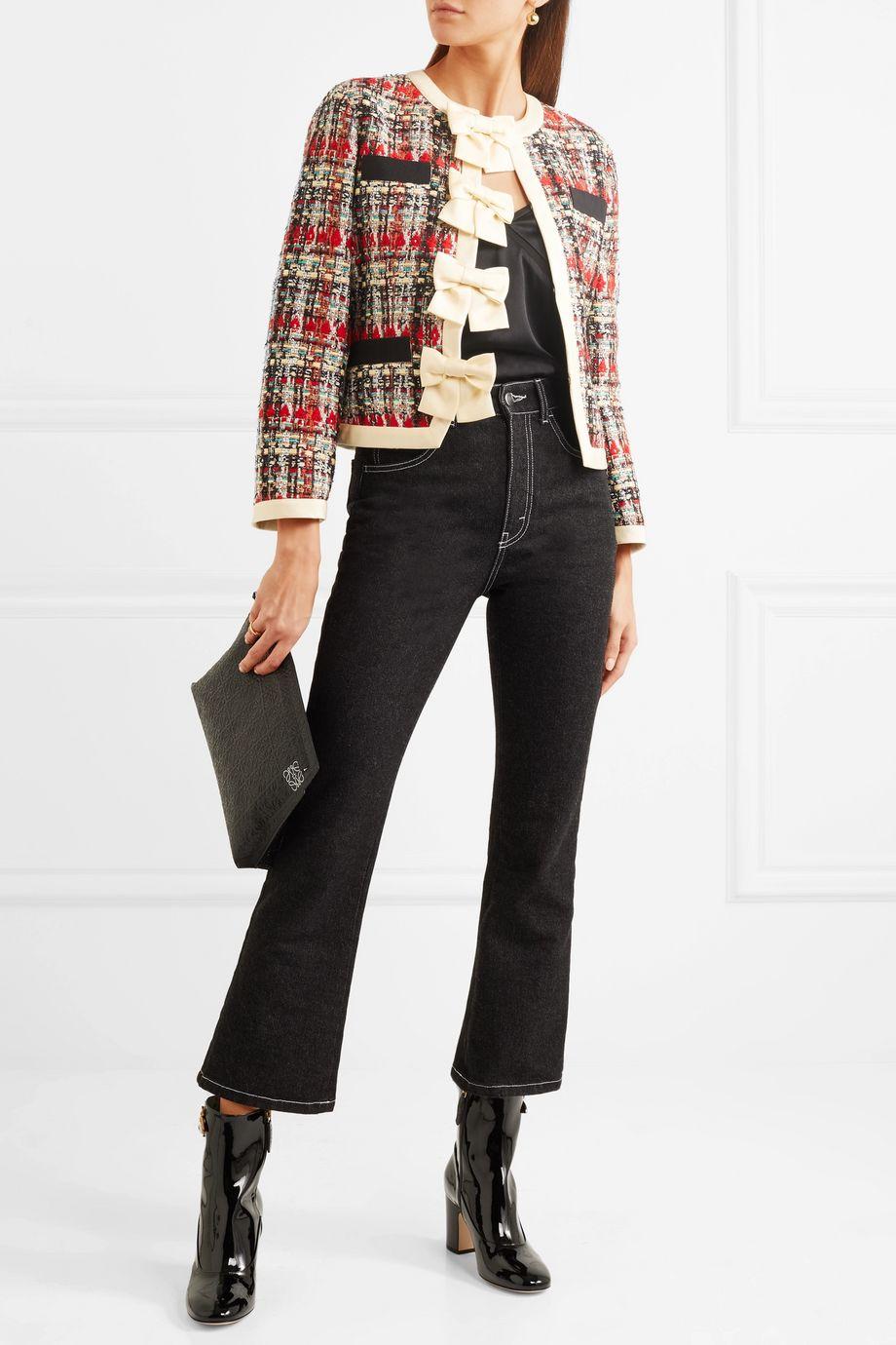 Gucci Silk-twill and grosgrain-trimmed metallic tweed jacket