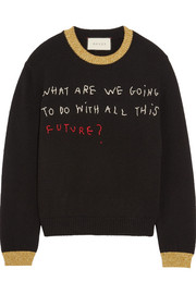 Gucci Embroidered metallic-trimmed wool sweater