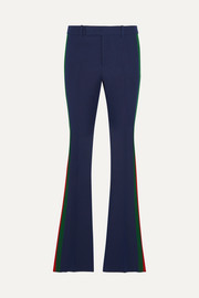 Striped wool and silk-blend cady flared pants