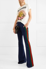 Gucci Striped wool and silk-blend cady flared pants