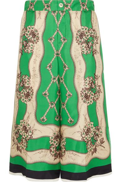 Garden Chains Print Silk Bermuda Shorts, Light Green