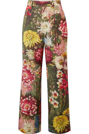 Floral-print wool and mohair-blend wide-leg pants