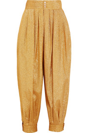 Gucci Cropped textured-lamé tapered pants