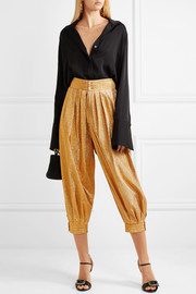 Cropped textured-lamé tapered pants