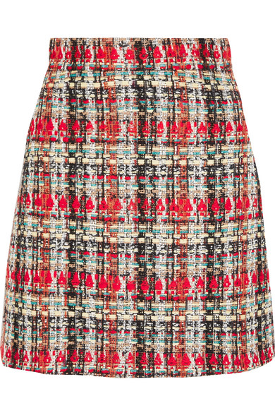 Gucci - Checked Tweed Mini Skirt - Red