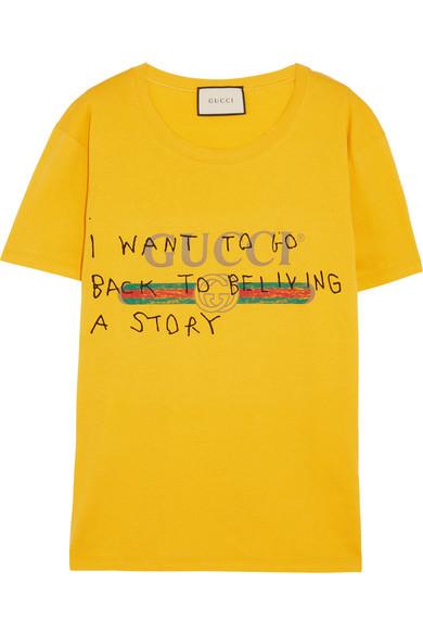 d94431e2d Gucci | Printed cotton-jersey T-shirt | NET-A-PORTER.COM