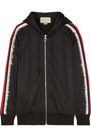 Gucci Swarovski crystal-embellished striped tech-jersey hooded top