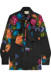 Gucci Pussy-bow floral-print silk crepe de chine blouse