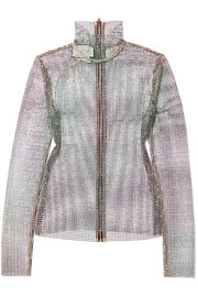 Gucci Crystal-embellished stretch-mesh turtleneck top