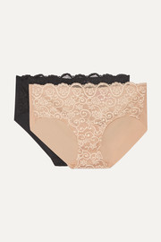 Set of two Double Take lace-paneled stretch briefs
