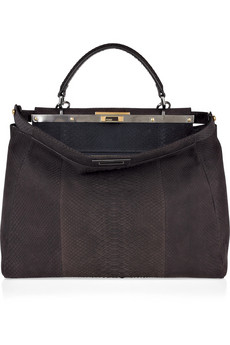 Fendi.  Large Peekaboo brushed-python tote.
