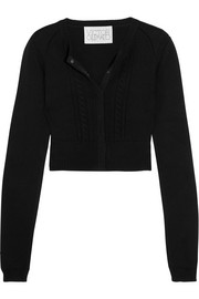 Cropped open-back cotton and cashmere-blend cardigan