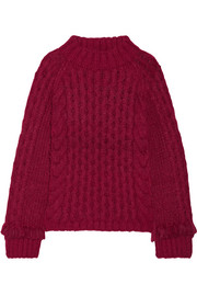 Lorena fringed cable-knit alpaca-blend sweater