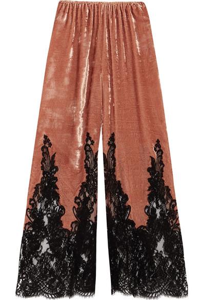 Rosamosario - Coprimi D'amore Lace-paneled Silk-velvet Pajama Pants - Brick