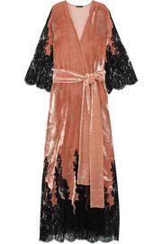 Rosamosario Coprimi d'Amore lace-paneled silk-velvet robe