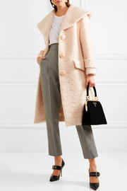 Miu Miu Crystal-embellished mohair-blend coat