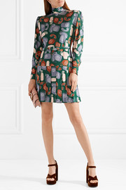 Belted printed jersey mini dress