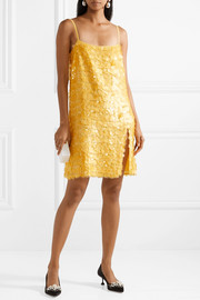 Embellished silk-georgette mini dress